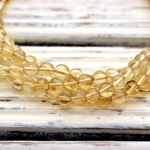 Natural Citrine Quartz 6mm Round Beads (etb01188)