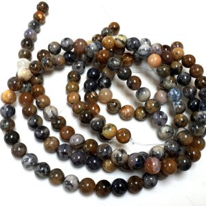 "Dendritic Opal Beads 8mm Round Polished Smooth Gemstones 15.5"" Strand"