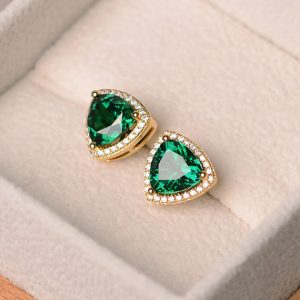 Shop Emerald Earrings! Emerald earrings, trillion cut emerald, halo earrings, earrings emerald, sterling silver plated with yellow gold | Natural genuine Emerald earrings. Buy crystal jewelry, handmade handcrafted artisan jewelry for women.  Unique handmade gift ideas. #jewelry #beadedearrings #beadedjewelry #gift #shopping #handmadejewelry #fashion #style #product #earrings #affiliate #ad
