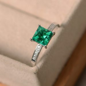 Emerald Engagement Ring, Sterling Silver, Princess Cut Emerald