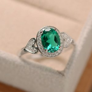 Shop Emerald Engagement Rings! Emerald ring, oval cut ring, engagement ring, sterling silver | Natural genuine Emerald rings, simple unique alternative gemstone engagement rings. #rings #jewelry #bridal #wedding #jewelryaccessories #engagementrings #weddingideas #affiliate #ad
