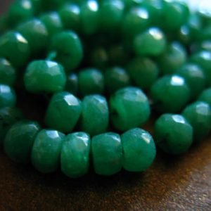 5-50 pcs / EMERALD RONDELLES Beads / Luxe AAA, 3-4 mm, Kelly Green Emeralds, May birthstone / brides bridal true solo tr e | Natural genuine rondelle Emerald beads for beading and jewelry making.  #jewelry #beads #beadedjewelry #diyjewelry #jewelrymaking #beadstore #beading #affiliate #ad