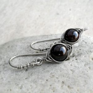 Garnet Sterling Silver Earrings, January Birthstone, Simple, Dangle, Minimalist, Long, Delicate, Wire Wrapped, Base Chakra, Red, Passion