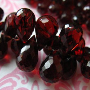 Garnet Briolettes, Mozambique GARNET Teardrop Tear Drop Beads, Luxe AAA, 9-10 mm, Large Semiprecious Focals, January birthstone solo z | Natural genuine other-shape Garnet beads for beading and jewelry making.  #jewelry #beads #beadedjewelry #diyjewelry #jewelrymaking #beadstore #beading #affiliate #ad