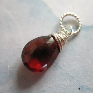 Shop Sale.. Garnet Charm Pendant Add A Dangle Drop, Pear, 18-20 Mm, Gold Fill / 925 Sterling Silver, January Birthstone Gemdone Gd95 Solo