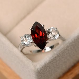 Marquise garnet ring, red garnet, marquise cut, sterling silver, garnet gemstone, promise ring, marquise engagement