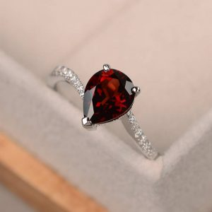 Pear Cut Garnet Ring, Engagement Ring Silver, Red Gemstone Ring, January Birthstone Ring