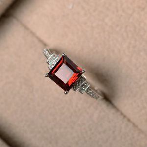 Garnet rings, red gemstone, January birthstone ring, promise, engagement ring, sterling silver, square cut