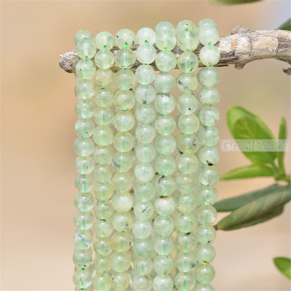 Grade A Natural Prehnite Beads Not Dyed 6mm 8mm 10mm 12mm Smooth Polished Round 15 Inch Strand Pr01