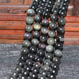 Grade AA Natural Double Rainbow Black Obsidian Beads NOT Dyed 6mm-14mm Smooth Polished Round 15.4 Inch Strand OB07 | Natural genuine round Gemstone beads for beading and jewelry making.  #jewelry #beads #beadedjewelry #diyjewelry #jewelrymaking #beadstore #beading #affiliate #ad
