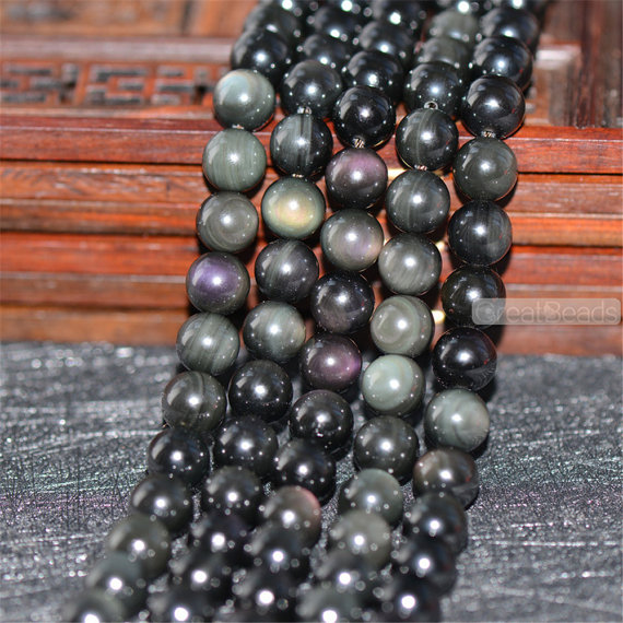Grade Aa Natural Double Rainbow Black Obsidian Beads Not Dyed 6mm-14mm Smooth Polished Round 15.4 Inch Strand Ob07