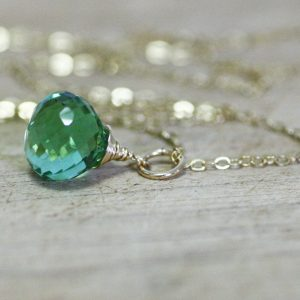 Green Amethyst Briolette Wire Wrapped Pendant In 14k Gold Filled , February Birthstone , 33rd Anniversary , From Canada , Forest Green
