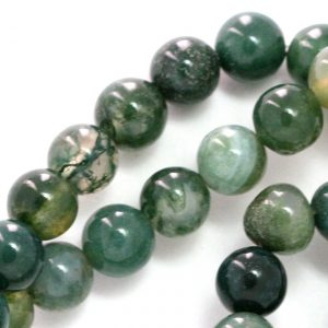 Green Moss Agate (grade B) Beads – 8mm Round