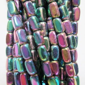 "Hematite Faceted Tube Beads 2 X 4 Mm – Full Strand 16"", 112 Beads, Aa – Quality, Item 51"