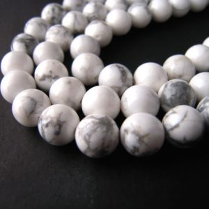 Howlite Beads, White Howlite Beads, 6mm Round Beads, 6mm Round Gemstones, 8mm Round Beads, 8mm Round Gemstones, Natural White Howlite | Natural genuine round Howlite beads for beading and jewelry making.  #jewelry #beads #beadedjewelry #diyjewelry #jewelrymaking #beadstore #beading #affiliate #ad