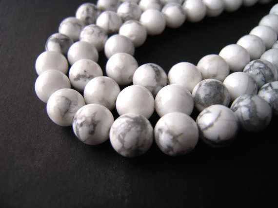 Howlite Beads, White Howlite Beads, 6mm Round Beads, 6mm Round Gemstones, 8mm Round Beads, 8mm Round Gemstones, Natural White Howlite