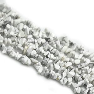 Howlite Chips Beads, Long Strand Howlite Turquoise Stone Chips, 34 Inch 5*9mm Rough White Gemstone Beads, Diy Jewelry Craft Supplies