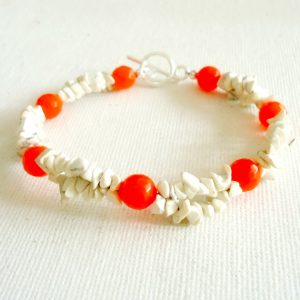 Orange Bracelet – Gemstone Jewelry – White Turquoise Jewellery – Tangerine – Jade – Boho – Resort – Hipster – Neon – Modern B-330