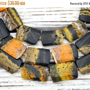 Bumblebee Jasper rectangle beads  20-26mm (ETB00552)  Unique jewelry/Vintage jewelry/Gemstone necklace | Natural genuine other-shape Jasper beads for beading and jewelry making.  #jewelry #beads #beadedjewelry #diyjewelry #jewelrymaking #beadstore #beading #affiliate #ad