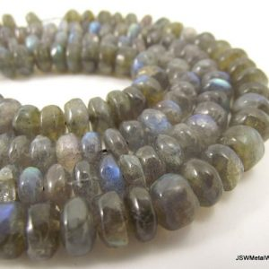 Shop Labradorite Rondelle Beads! 8mm – 11mm Hand Cut Labradorite Rondelle Bead Strand, 8 x 5 mm – 11 x 7 mm Blue Flash Labradorite Rondelle 14 Inch Whole Strand | Natural genuine rondelle Labradorite beads for beading and jewelry making.  #jewelry #beads #beadedjewelry #diyjewelry #jewelrymaking #beadstore #beading #affiliate #ad