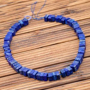 Lapis Lazuli cube beads 8.5-10.5mm (ETB00865) Matte/Healing stone/Unique jewelry/Vintage jewelry/Gemstone necklace | Natural genuine other-shape Gemstone beads for beading and jewelry making.  #jewelry #beads #beadedjewelry #diyjewelry #jewelrymaking #beadstore #beading #affiliate #ad