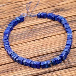 Matte Lapis Lazuli 8.5-10.5mm Cube Beads (amazing Blue Colour With Gold Sparkles) (etb00865)