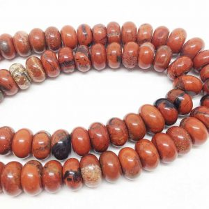"Lot Of 5 Strands Red Jasper Roundelle 6*10mm Faceted Beads, Wholesale Beads, Natural Beads,diamond Cut Beads, 15 1/2""length,faceted Beads"