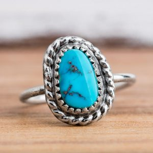Midi Ring – Morenci Turquoise Gemstone Midi Ring In Sterling Silver – Size 3.75 – Light Aqua Blue Bohemian Navajo Ring With A Twist Border