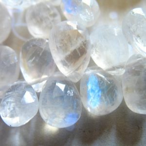 Shop Sale.. Rainbow Moonstone Briolettes Beads, 6 Pcs, Luxe Aaa, 9-11 Mm, Faceted Pear, Blue Flashes, Brides Bridal June Birthstone 911