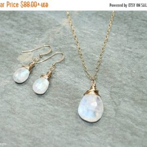 Rainbow Moonstone Necklace And Earring Set, Wire Wrap, Blue Flash, Moonstone Jewelry, Gold Filled Or Sterling Silver