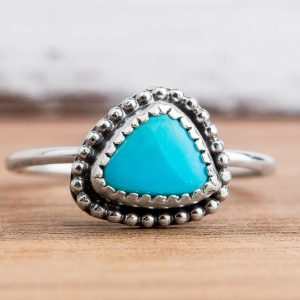 Morenci Turquoise Gemstone Ring In Sterling Silver – Size 7.75 – Light Aqua Blue Stone Ring With Beaded Border – Bohemian Navajo Style