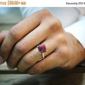 silver ring,rhodonite ring,pink ring,gemstone ring,square ring,prong ring,everyday ring,silver stone ring,stacking ring | Natural genuine Rhodonite rings, simple unique handcrafted gemstone rings. #rings #jewelry #shopping #gift #handmade #fashion #style #affiliate #ad