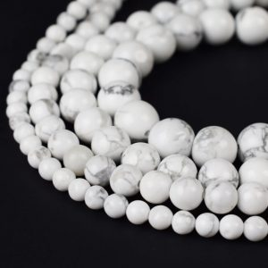 "Natural White Howlite Beads 4mm 6mm 8mm 10mm 12mm 14mm Round 15.5"" Full Strand Wholesale Gemstones 