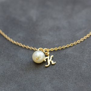 Bridesmaid Bracelet Set Of 4 Four, Charm Style, Pearl Bridesmaid Jewelry, Personalized Gold Initial Bracelet