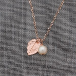 Shop Pearl Necklaces! Rose Gold Leaf Necklace, Set of 4, Rustic Bridesmaid Jewelry, Rose Gold and Pearl Necklace, Nature Inspired Jewelry | Natural genuine Pearl necklaces. Buy crystal jewelry, handmade handcrafted artisan jewelry for women.  Unique handmade gift ideas. #jewelry #beadednecklaces #beadedjewelry #gift #shopping #handmadejewelry #fashion #style #product #necklaces #affiliate #ad