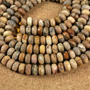 Shop Jasper Rondelle Beads! 8mm Picture Jasper Beads – Brown Tan and Black Faceted Matte Rondelle Desert Jasper Beads for Jewelry Making and Supplies | Natural genuine rondelle Jasper beads for beading and jewelry making.  #jewelry #beads #beadedjewelry #diyjewelry #jewelrymaking #beadstore #beading #affiliate #ad
