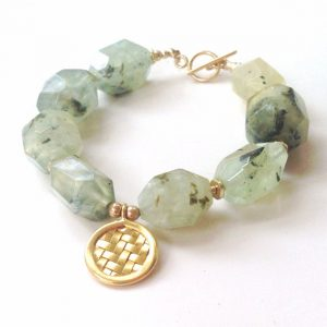 Prehnite Bracelet – Green Bracelet – Gold Jewellery – Vermeil – Gemstone Jewelry – Chunky – Fashion