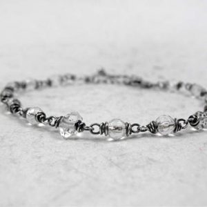 Herkimer Diamond & Crystal Quartz Bracelet, April Birthstone, Healing Raw Quartz, Crown Chakra, Soul Star Chakra, Sterling Silver, Gold