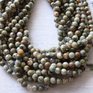 "6mm Rainforest jasper beads, 15.5"" strand, natural gemstone beads in shades of green, 6mm round jasper beads, approx. 72 per strand 