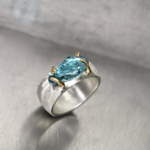 Raw Blue Zircon Silver 22k Yellow Gold Ring Wide Textured Band Tumbled Clear Ocean Water Colored Gemstone Surfing Beach Zen – Barrel Wave | Natural genuine Gemstone rings, simple unique handcrafted gemstone rings. #rings #jewelry #shopping #gift #handmade #fashion #style #affiliate #ad