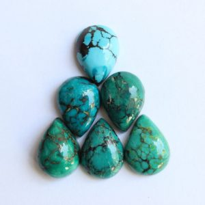 Turquoise cabochons, Natural tibetan turquoise, flat back calibrated pear shaped turquoise cabochons, calibrated sizes from 10×7 mm to 30×20 | Natural genuine stones & crystals in various shapes & sizes. Buy raw cut, tumbled, or polished gemstones for making jewelry or crystal healing energy vibration raising reiki stones. #crystals #gemstones #crystalhealing #crystalsandgemstones #energyhealing #affiliate #ad