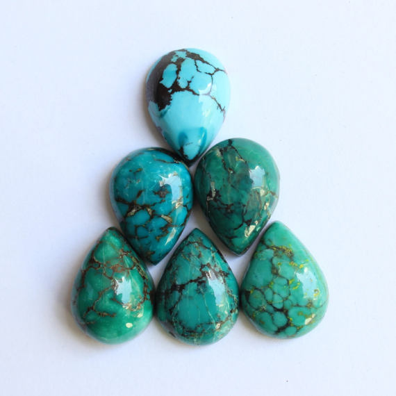 Turquoise Cabochons, Natural Tibetan Turquoise, Flat Back Calibrated Pear Shaped Turquoise Cabochons, Calibrated Sizes From 10x7 Mm To 30x20