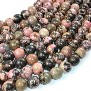 Shop Rhodonite Round Beads! Rhodonite, 12mm Round Beads, 15 Inch, Full Strand, Approx 32 Beads, Hole 1 Mm (386054010) | Natural genuine round Rhodonite beads for beading and jewelry making.  #jewelry #beads #beadedjewelry #diyjewelry #jewelrymaking #beadstore #beading #affiliate #ad