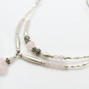 """Handcrafted Southwestern-Style Sterling Silver Bead and Rose Quartz 18"""" Necklace. [9773]"""