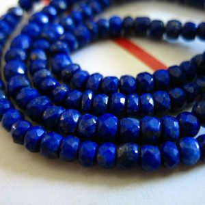 Shop Lapis Lazuli Faceted Beads! LAPIS LAZULI Rondelles Beads, Luxe AAA, 3-4 mm, 1/2 Strand, September birthstone, pyrite inclusions, brides bridal solo | Natural genuine faceted Lapis Lazuli beads for beading and jewelry making.  #jewelry #beads #beadedjewelry #diyjewelry #jewelrymaking #beadstore #beading #affiliate #ad
