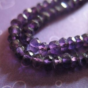 AMETHYST  Rondelles Beads, Gemstones Gems, Luxe AAA, Faceted, 3-4 mm, 1/2 Strand, Dark Purple Gemstone / brides bridal february birthstone | Natural genuine beads Gemstone beads for beading and jewelry making.  #jewelry #beads #beadedjewelry #diyjewelry #jewelrymaking #beadstore #beading #affiliate #ad