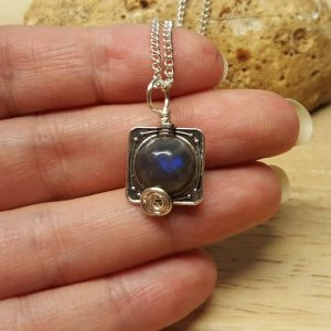 Small Labradorite Pendant. Reiki Jewellery Uk. Square Frame Pendant. Silver Plated Wire Wrapped Pendant. 10mm Stone