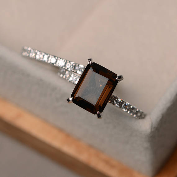 Natural Smoky Quartz Ring, Emerald Cut Engagement Ring Set, Gemstone Ring Silver, Promise Ring