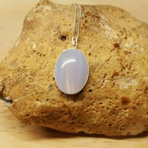 Sterling Silver Blue Lace Agate Pendant Necklace. Reiki Jewelry Uk. Pisces Jewelry. Blue Semi Precious. 18x13mm Stone