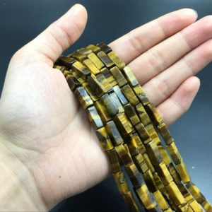 Brown Tiger Eye Tube Beads Rectangle Tiger Stone Beads Gemstone Beads Tiger Stone Beads Gemstone Beads 4x14mm High Quality Jewelry Supplies